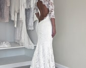 Keyhole Back Wedding Dress in Corded French Lace, Illusion Neckline Lace Dress, Trupet Wedding Dress with Sleeves