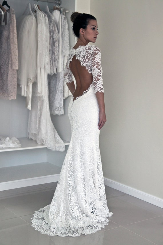 Keyhole Back Wedding Dress In Corded French Lace Illusion