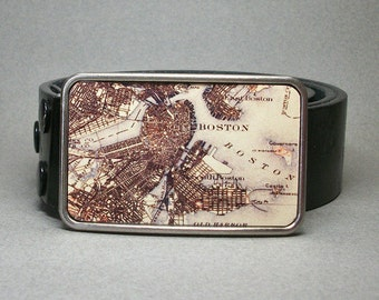 Boston Massachusetts Vintage Map Belt Buckle Cool Gift for Men or Women