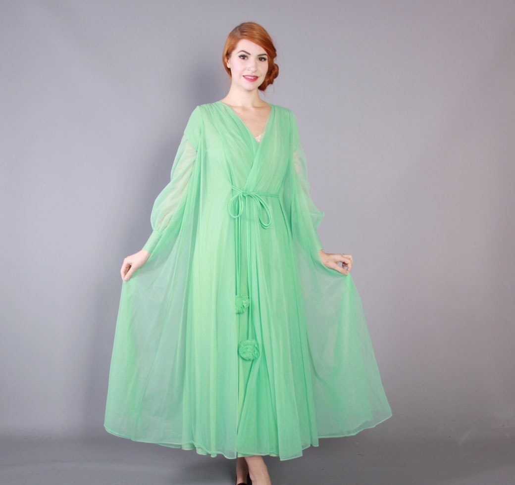 60s Lucie Ann Mint Green Chiffon Robe Vintage 1960s Full