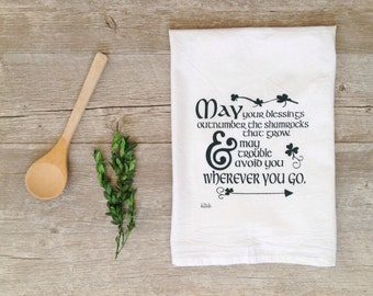 St. Patrick's Day Tea Towel - Irish Blessing Shamrock Inspirational quote Rustic Kitchen Screen Printed Flour Sack Home Decor Forest Green