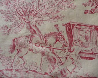 vintage  french toile de jouy  red/white french fabric