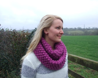 Knitted Infinity Scarf , Chunky Rhubarb pink cowl , handknit snood , moss stitch knit , Winter accessory , fall accessories