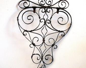 Vintage Scrolled Metal Trivet / French / Fleur de Lis