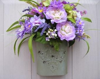 Spring Door Wreath, Easter Decoration, Purple Wreath, Spring Door Decor, Lavender Flowers, Mothers Day Gift, Floral Wreath, Bridal Shower