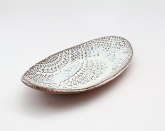 Oval Pottery Dish in Coconut White, Handmade Lace Impressed Stoneware