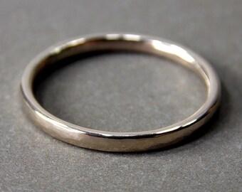 14K White Gold Ring, Medium White Gold Stacking Ring, Solid 14K White Gold Ring - Made to Order