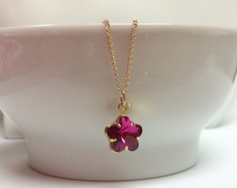 Fushia Swarovski crystal flower pendant and Gold-filled chain - Swarovski flower - Fushia pendant - Free shipping to Canada & USA