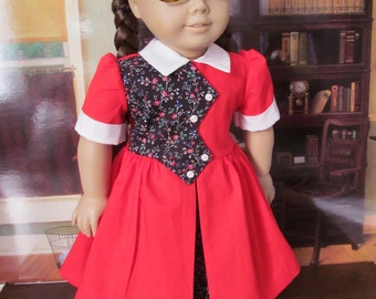 Historical  Dress, 1950s Doll Dress,  Vintage School Dress ,  18 inch Doll Clothes