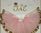 Girl pink and gold birthday outfit, pink and gold trim tutu, gold one birthday shirt, gold one birthday onesie, pink and gold tutu outfit