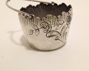 30% REDUCED PRICE  -  Sterling Silver Antique 1800s French Basket Tea Strainer