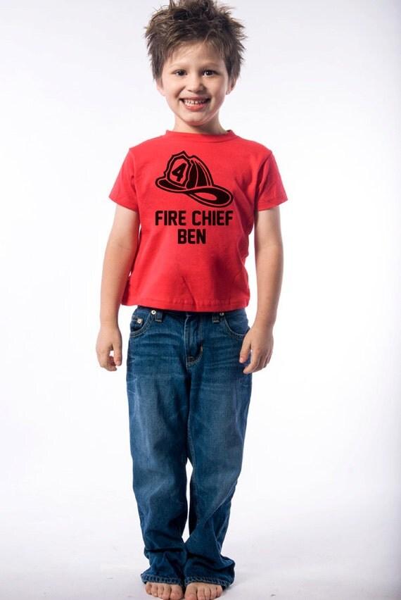 4th Birthday Shirt  - Fireman Birthday Shirt - Personalized Birthday Shirt - Fire Hat Number 4 Birthday Shirt - Firehouse Birthday Party