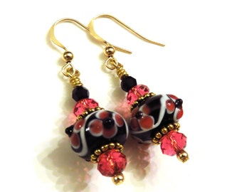 Black & Pink Lampwork Earrings With Swarovski Crystals, Black Earrings, Pink Earrings, Lampwork Jewelry