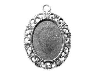 Cabochon Settings : 10 Oval Antique Silver Cabochon Settings / Bezels ... Holds 18x13mm Cabochons -- Lead & Cadmium Free 099.H4F