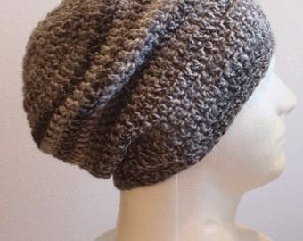 Crochet Slouch Hat, Slouchy Beanie Man, Vegan Beanie, Woman Hat, Black and Gray Striped, Grey Mens Slouch Beanie, Man Fashion Fall Apparel