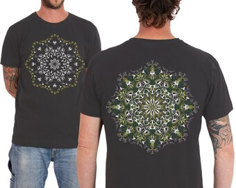 Psychedelic T shirt, Lotus Mandala Screen Printed, Burning Man, Festival Clothing, Mens T-shirt, Glow In The Dark, SOL