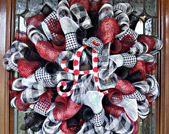 Deco Mesh Houndstooth Alabama Wreath, deco mesh wreath, wreath, football wreath, roll tide