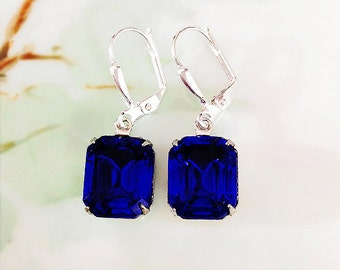 Sapphire Blue Earrings Sapphire Blue Glass Rhinestone Earrings New Settings September Birthstone Gift Idea