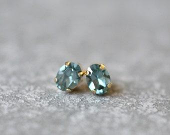Denim Blue Sapphire Earrings Swarovski Crystal 8mm Oval Petite Studs Super Sparklers Small RARE Vintage Blue Wedding Earrings Mashugana