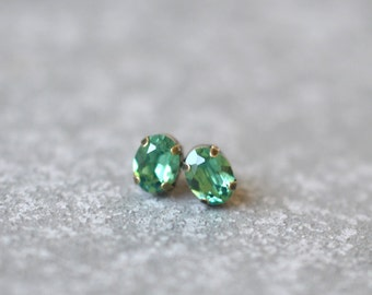 Mint Green Earrings Swarovski Crystal 8mm Oval Petite Studs Super Sparklers Small RARE Vintage Spearmint Forest Wedding Earrings Mashugana