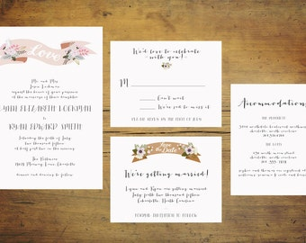 Banner Wedding Invitation Suite (Set of 25) | Wedding Invitation Set, Pink Invitation, Banner Invitation, Pink and Gold