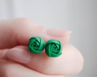 Green Ranunculus Stud Earrings Wholesale Small Hypoallergenic Handmade Flower Studs Wedding Bridal Birthday Mother Gifts Jewelry Earrings