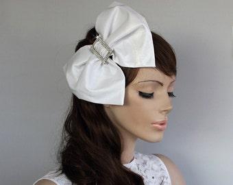 Big Bow Bridal Hair Fascinator Headband OOAK Taffeta Weddings Headdress, Off White Romantic Wedding