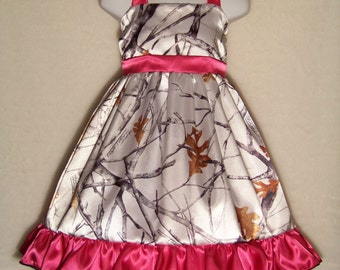 CAMO Halter Dress / Snow Camo + Hot Pink / Satin / Snow Camo / Flower Girl / Wedding / Infant / Baby / Girl / Toddler / Boutique Clothing