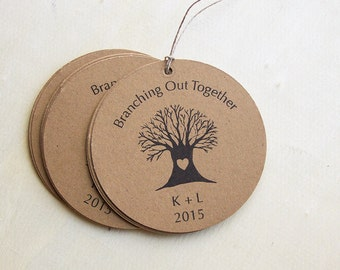 Custom Tags, Circle Tags, Personalized Wedding Tags, Sets of 12 -Gift Tags, Thank You Tags, Rustic Wedding Tags, Tree Tags (ITEM:TPG19)