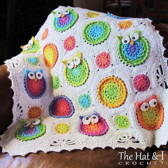 Crochet Pattern Owl Obsession Free : CROCHET PATTERN Owl Obsession a colorful owl afghan