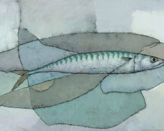 Cornish Mackerel, Abstract Fish Painting, Signed Giclee Art Print 20x10 inches