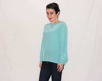 I'm a Norbyah Hand Picked - Vintage Pale Turquoise Embroidered Silk Blouse