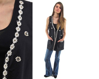 80s Sunflower Tunic Vest, Boho Floral Vest, Hippie, Bohemian, Beaded Vest, Layering Vest Δ fits sizes: sm / md / lg