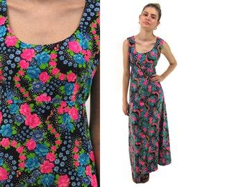 60s Psychedelic Neon Floral Dress, Empire Waist Dress, Boho Maxi Dress, Hippie, Broadcloth Dress Δ size: sm