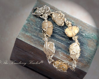 Beach Jewelry Penguin Pebble, River Rock Bracelet, Beach Pebble Bracelet