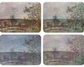 "Alfred Sisley ""Windy Day in Veneux"". Set of 4 Vintage Postcards -- 1960, 1967, 1968. Different printing, Slightly different color scheme"