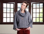Navy sweater, Cotton women sweater, Loose sweater, Long sleeves sweater, Eco sweater, Cowl neck sweater, Oversized sweater, Knitted sweater