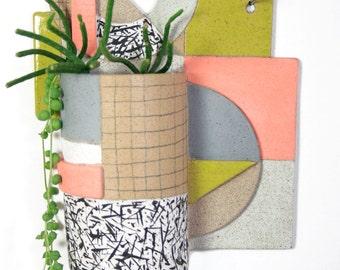 Geometric Wall Hanging Ceramic Planter in Stoneware no.7 Pastel Palette