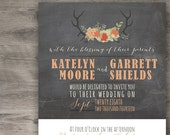 Rustic Antler Wedding Invitation Set, Barn Wedding, Printable Wedding Invitations