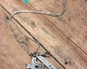 Texas HOME Pendant Charm Necklace - Silver Texas Necklace with Crystal and Hand Stamped Pendant