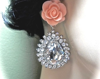 Rhinestone earrings ~ Large ~ Bridal Jewelry ~ Statement earrings ~ Sterling Silver posts ~ Hollywood Jewelry ~ STUNNING