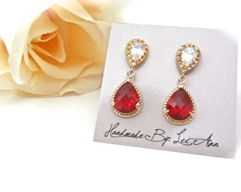 Ruby red Earrings ~ Gold teardrops ~ 14k gold over Sterling Silver posts ~ Bridal jewelry ~ Brides earrings ~Valentine's, July Birthday Gift