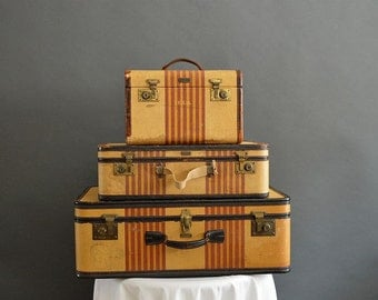 Temporarily away on location ~ vintage Oshkosh Chief striped suitcase luggage set with keys 1930s