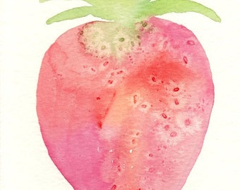 pink and red strawberry, original watercolor painting, 4x6, fruit, still life, green, kitchen decor