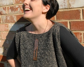 Edgy Copper Pendant Cool Funky Necklace Modern Statement Necklace Large Necklace Architectural Necklace