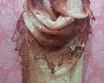 Brick brown Hand-Knitted Shawl