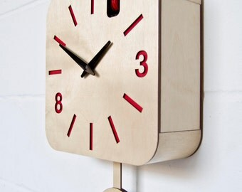 B83Box - Modern Cuckoo Clock with moving bird and pendulum