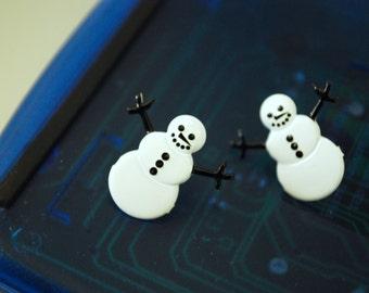 Snowman Earrings -- Snowman Studs, Black & White Snowmen Earrings