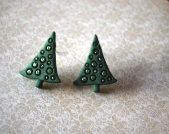 Christmas Tree Studs -- Green Glittery Pine Trees, Silver