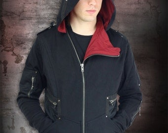 Sentinel Long Sleeve Jacket With Oversized Hood in Jersey Fabric & Maroon Twill Lining